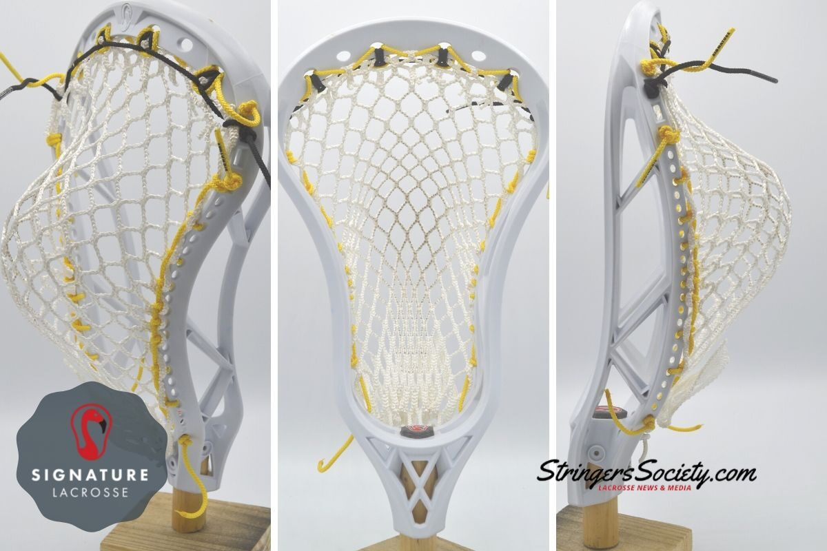 How to string a lacrosse head with a high pocket